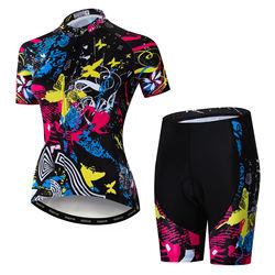 Wholesale Custom Cycling Jersey Short Sleeve Women Bike Clothing Bicycle Shirts Padded Shorts Set