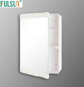 Mini Wall Mounted Plastic Bathroom Mirrored Medicine Cabinet with tooth brush holder