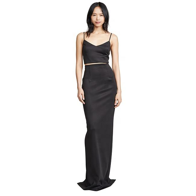 Dongguan clothing Sexy Sleeveless Spaghetti Strap women dress suit top quality sweep train with oem service