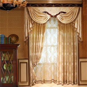 Luxury drapes Arabic curtain design in attach valance