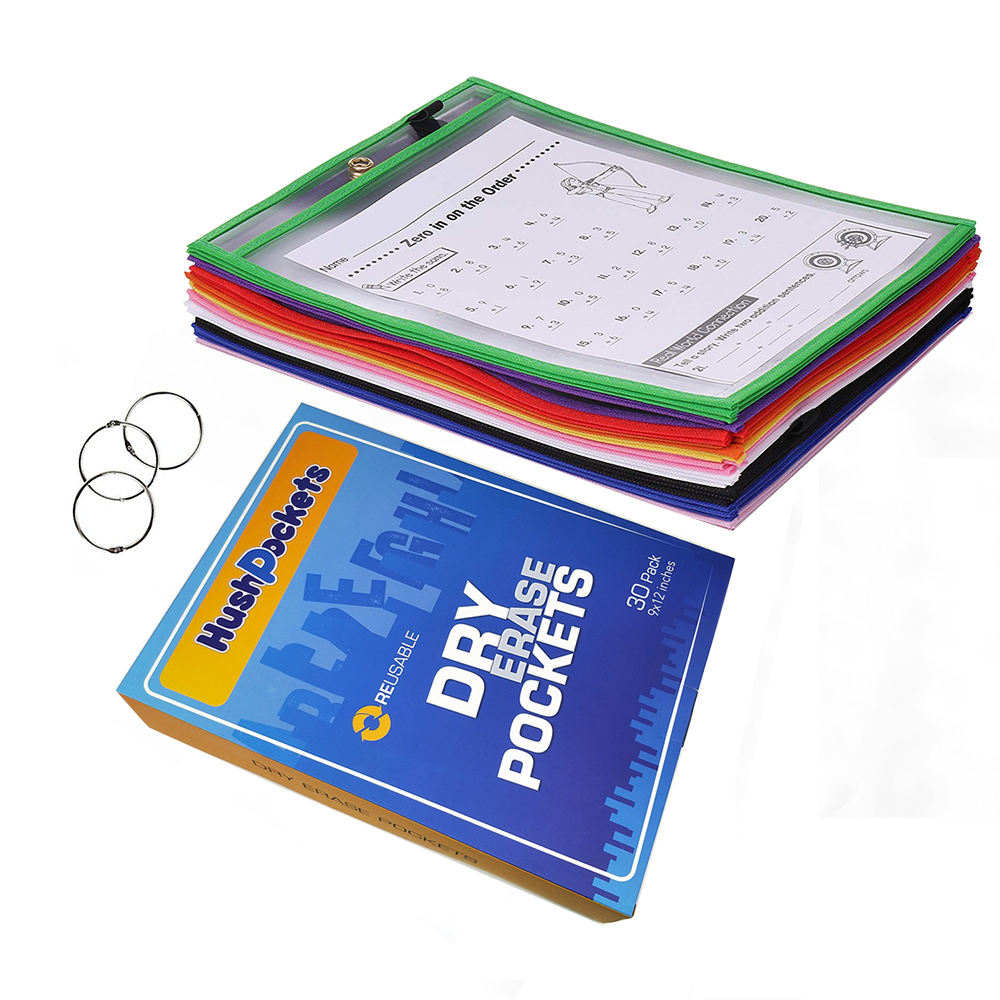 10*13 inch 30 Pack Assorted Colors Reusable Dry Erase Pockets