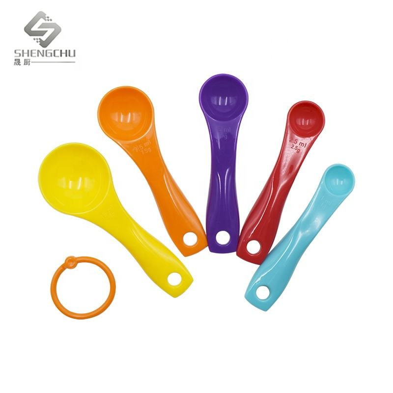 High Quality Mixing Color Plastic Measuring Spoons 5 PCS Custom Baking Tools Measuring Table Tea Spoons