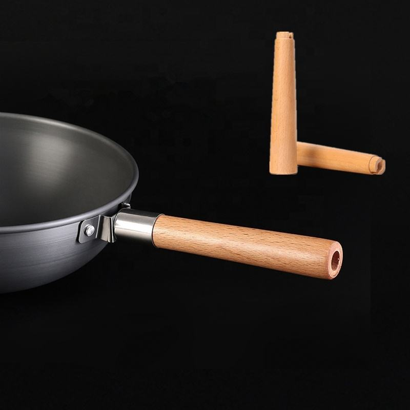 Stainless Steel Heat Resistant For Cookware Handle Parts Universal Removable Frying Pan Handle Wooden Cooking Pot Handle
