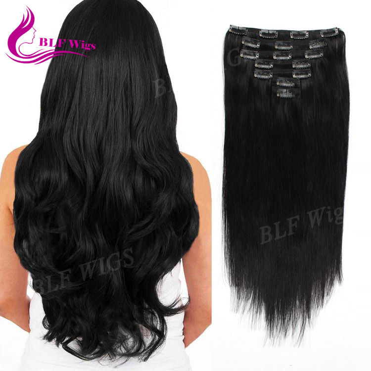 Natural Black Remy Human Clip in Hair Extensions for Black Women