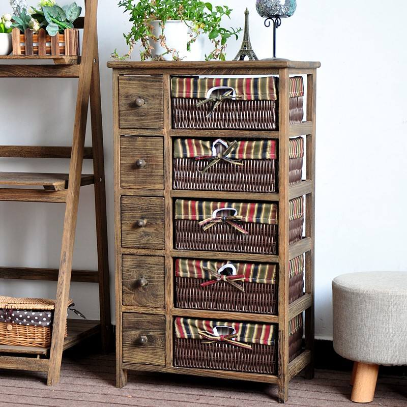 Antique Wooden Cabinet with 5 Drawers for Home Storage