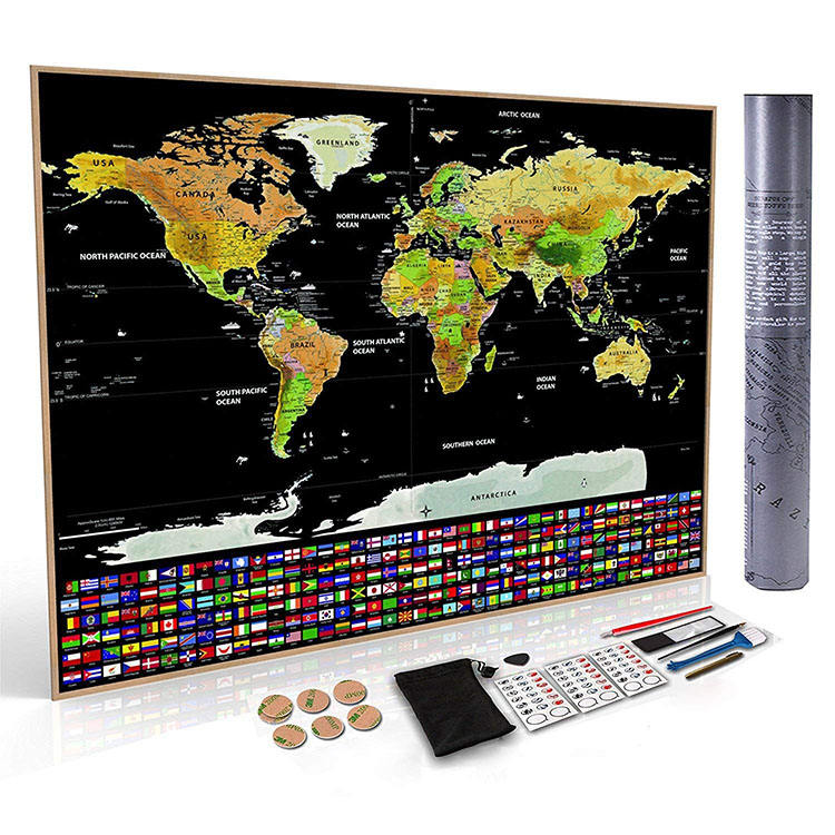 Factory hot sales deluxe scratch he world map