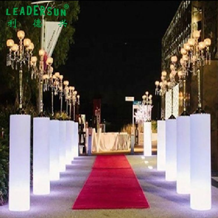 Led Furnirue Event And Party Hotel wedding Decoration 115cm Led Round Pillar