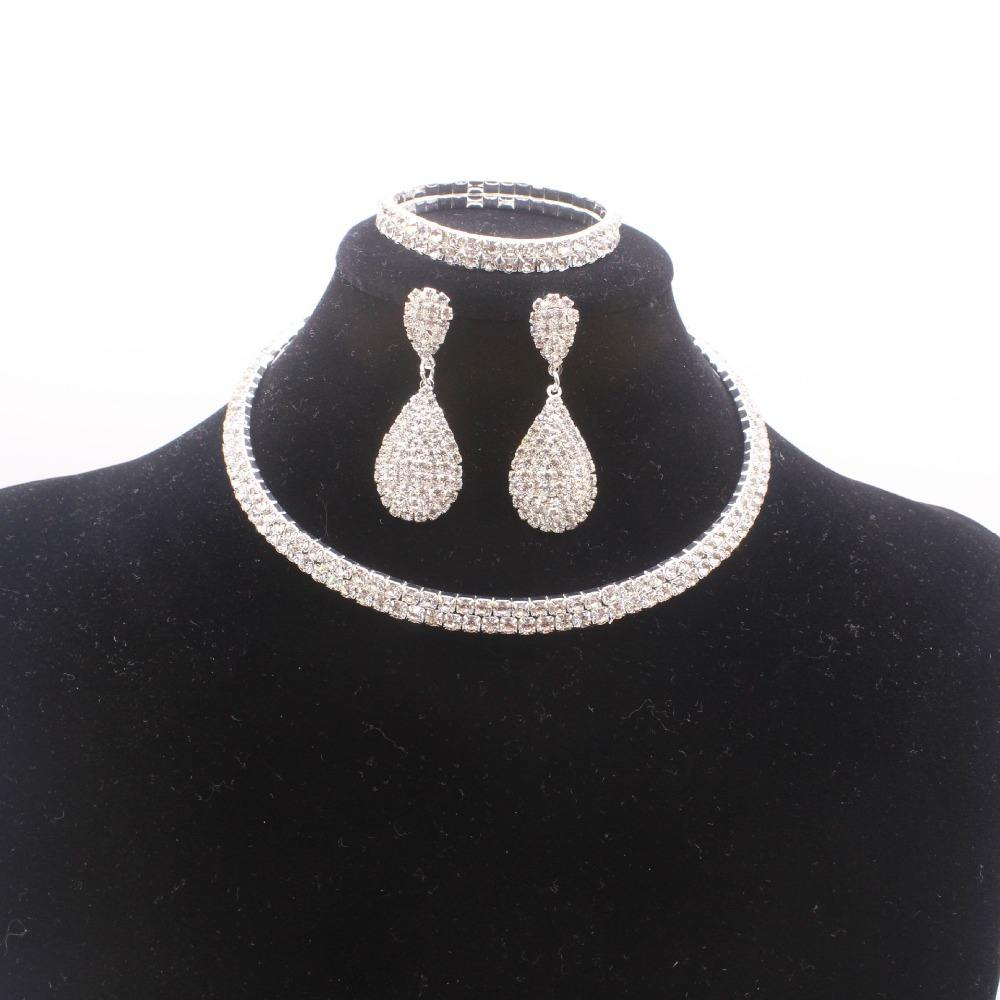Trendy Clear Crystal Wide Silver Diamond Rhinestone Bangle Earrings Choker Necklace Jewelry Set