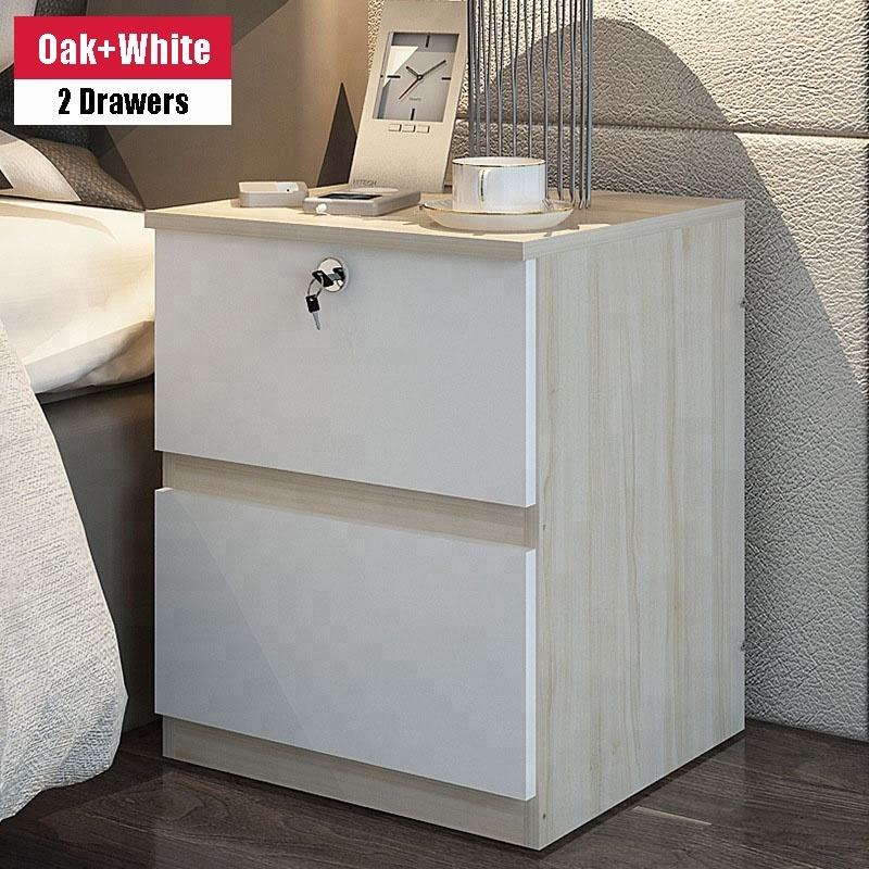 Bedside Table With Drawers & Doors Tall Nightstand Storage Cabinet For Bedroom Night Stand 2 Drawer Nightstand