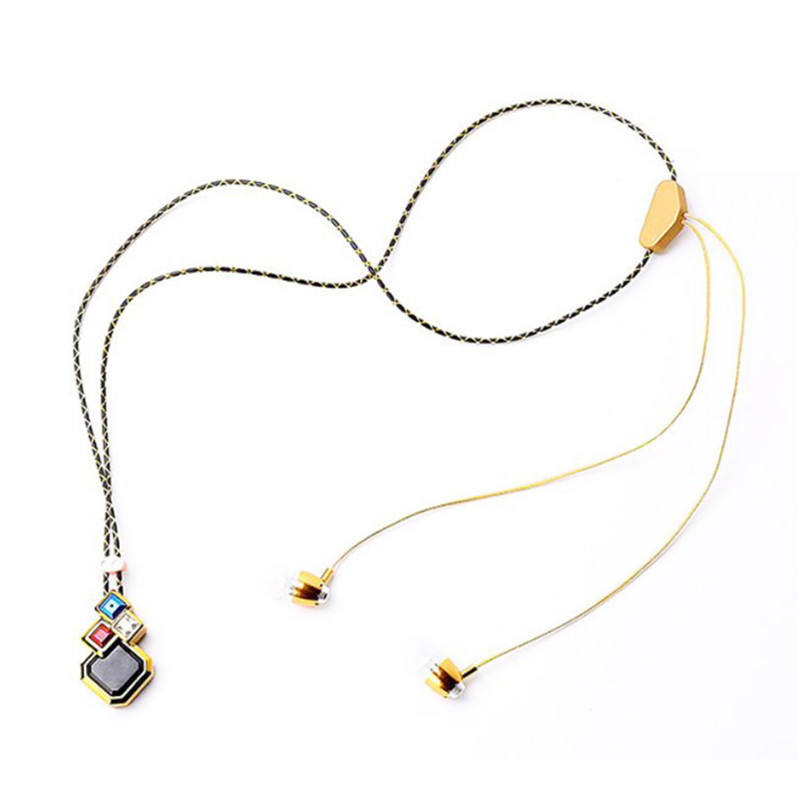 Xinkuai 무선 Earphone 와 마이크 Pearl Necklace Crystal LED 헤드폰