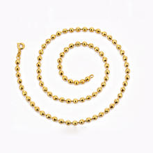 0019 xuping 24K gold colored small beaded necklace,fashion woman gold chain