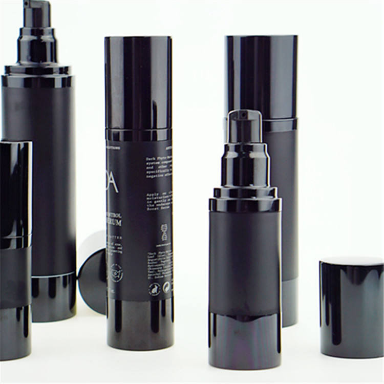 15ml 30ml 50ml 80ml 100ml matte black airless pump bottle aluminium plastic bottles for cosmetic packaging