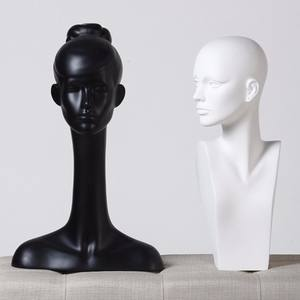 Glossy white FRP female head dummy for scarf display