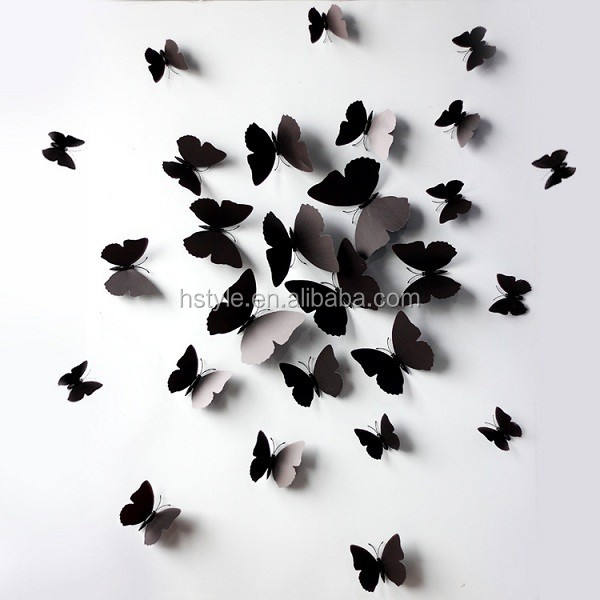 Black Butterfly Wall Stickers Art Decal PVC Butterflies Home DIY Decor SD102