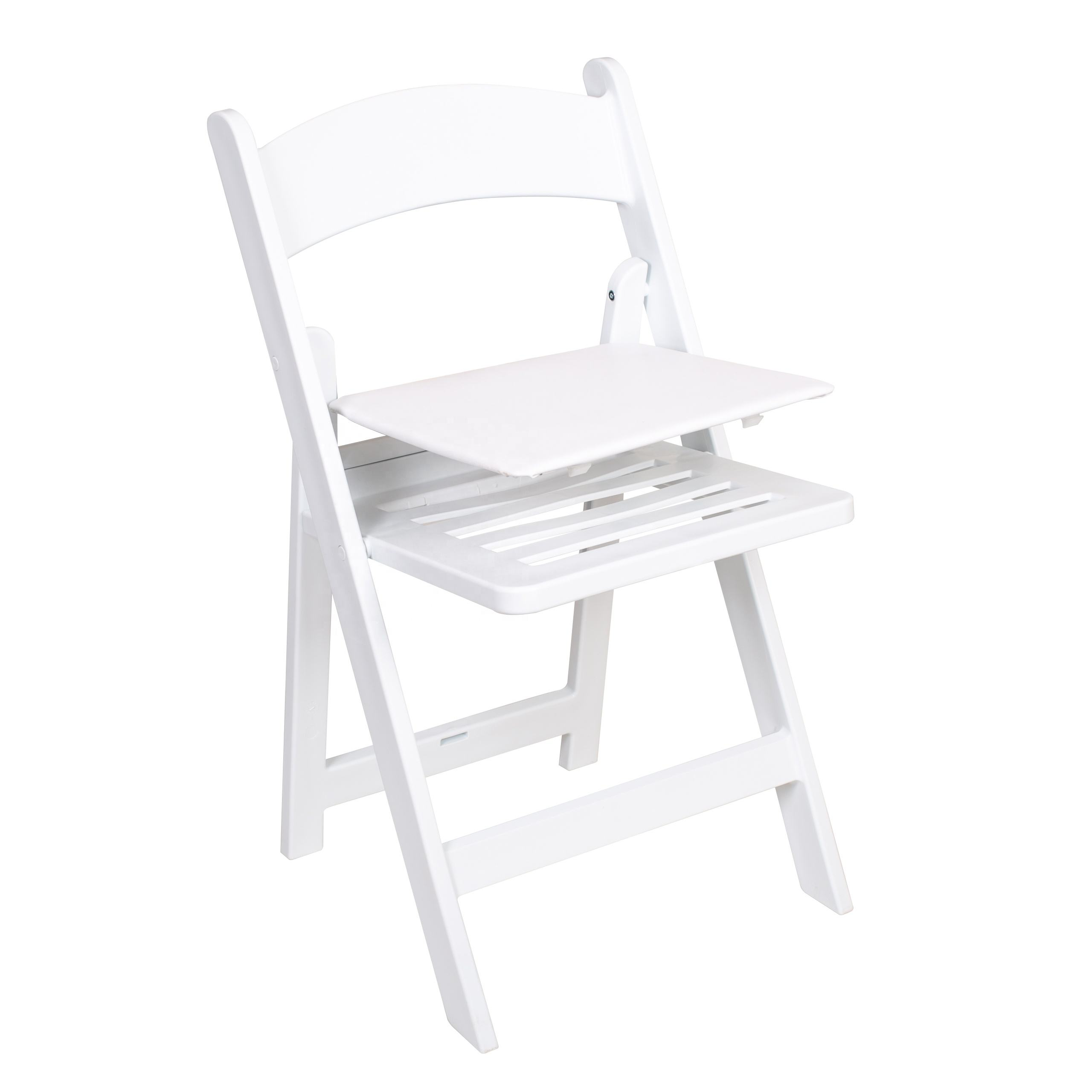 outdoor furniture white slat pad resin folding chair