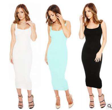 Ladies dresses casual lady simple sleeveless woman western summer sundress
