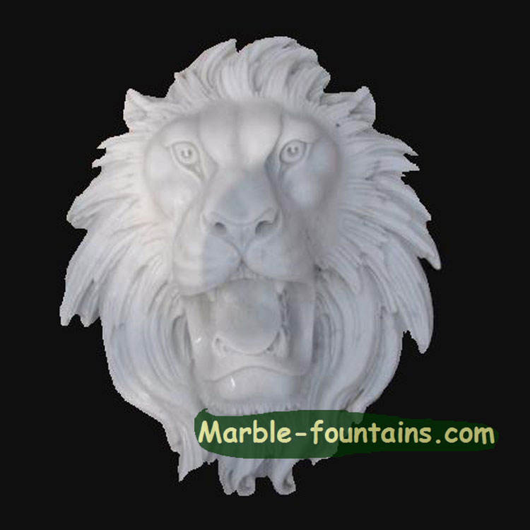 Diseño personalizado hecho a mano sólido piedra mármol natural blanco <span class=keywords><strong>cabeza</strong></span> de león
