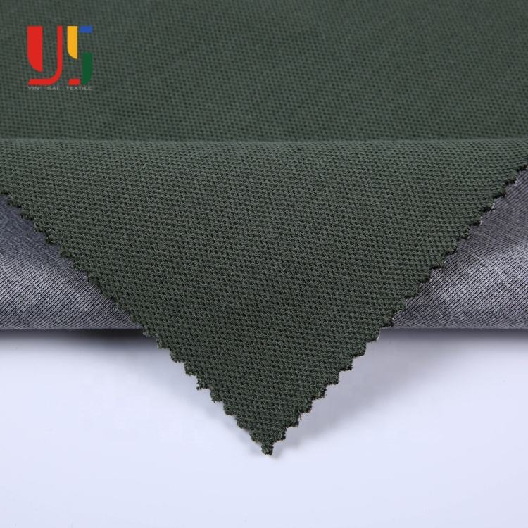 Army green polyester cotton spandex jacquard knitted pique cotton fabric