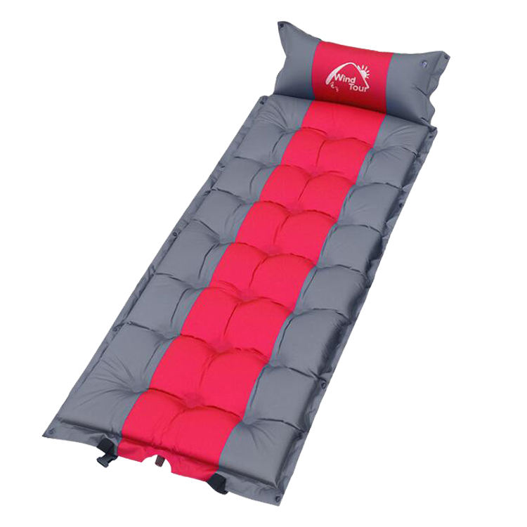 Camping Self-Inflating Foam Sleeping Pad Air Mattress Thicker and Wider with attached Pillow