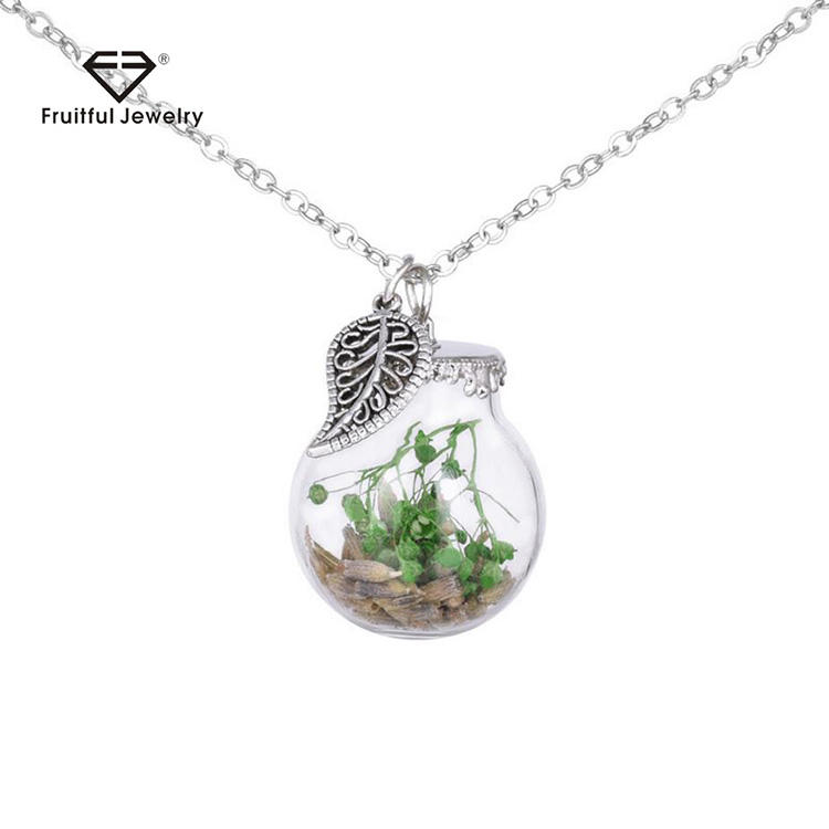 Natural Dried Flower Necklace Women Handmade Hollow Glass Cover Dandelion Retro Metal Leaf Necklace
