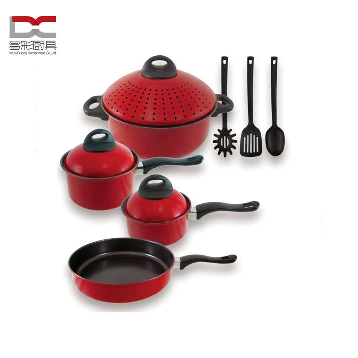 Food Grade 10Pcs Carbon Steel Non Stick Cook Fry Pan Casserole Cookware Set Pasta Pot Set With Straining Metal Cover