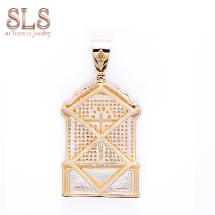 Micro Pflastern 925 Sterling Silber Kreuz Jesus Hiphop <span class=keywords><strong>Anhänger</strong></span> Islamischen <span class=keywords><strong>Italienischen</strong></span> Religiöse 18 karat Gold Überzogen