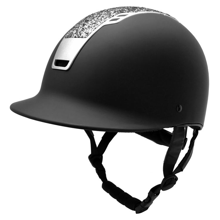 Negro mate ajustable caballo casco con cristal brillo