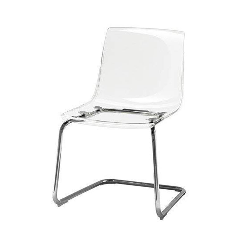 custom chrome plated clear tobias acrylic vanity chair for home restaurant office lucite chair