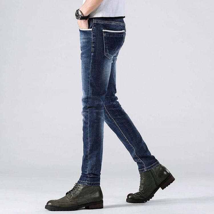 Haute riz pas cher élastique unisexe pantalones skinny sexy hommes jeans