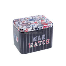 rectangle printed metal tin box for watch package