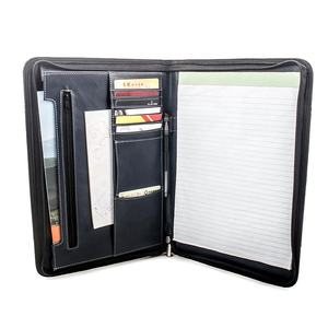 Contrast Stitch Leather Zipper Padfolio with Business A4 Portfolio Folder for Resume Document Organizer and Writing Pad