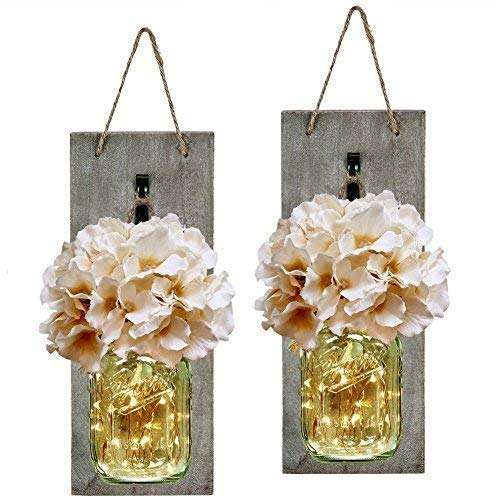 Mason Jar Sconce Rustic Home Wall Decor with LED Fairy Lights - Handcrafted Hanging Mason Jar Sconces