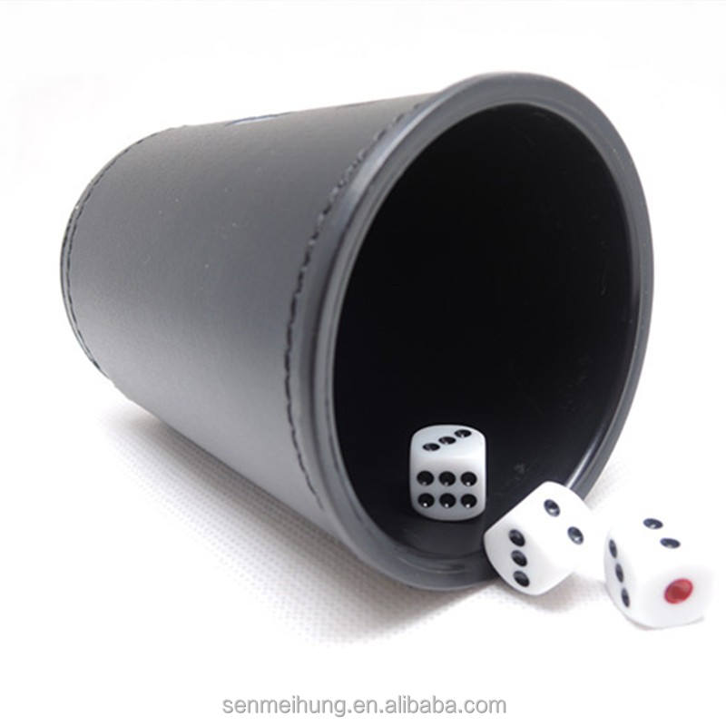 Casino luck games plastic black dice shaker cup