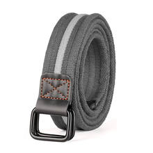 Custom Wholesale Mens Plus Size Grey Double D Ring Canvas Cloth Belts