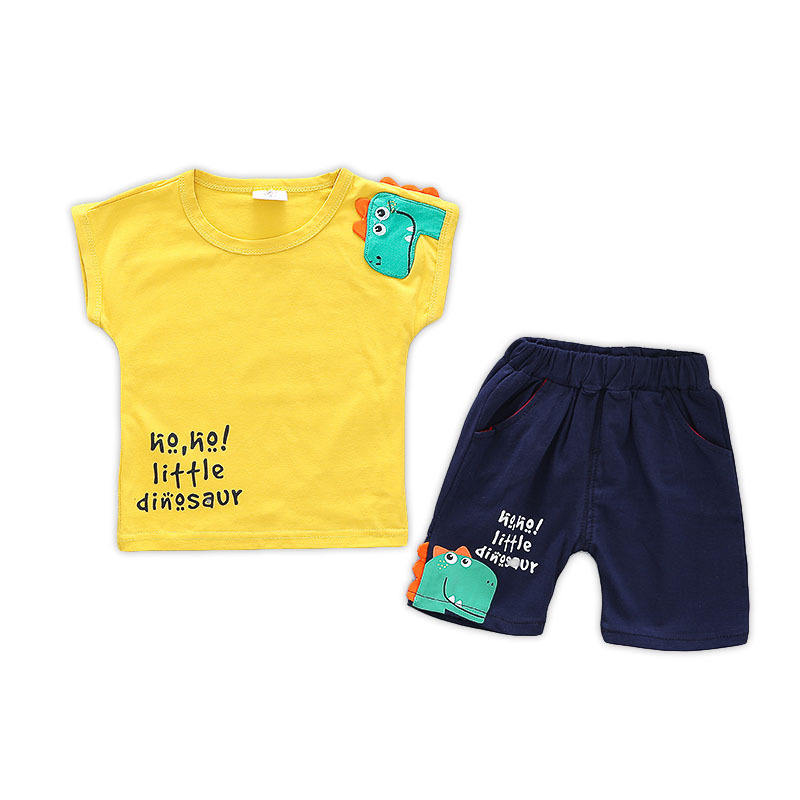 Boys Sets with Short Sleeves Cotton T-shirt + Pants Clothes for Little Boys 2 Pcs Clothing sets