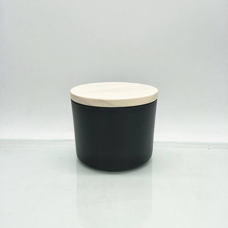 Matte black white candle jar glass with wooden lid