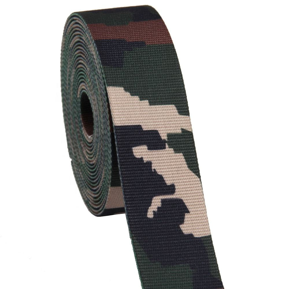 customize 48mm printed camouflage cotton webbing for belt