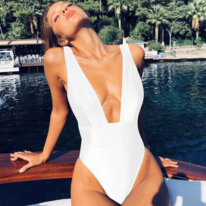 Women's Deep Plunge High Waisted One Piece White Bikini Swimsuit Bathing Suit Monokini