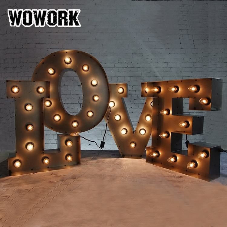 WOWORK waterproof DIY LED customized vintage rustic metal light up letters lighting for shop window front