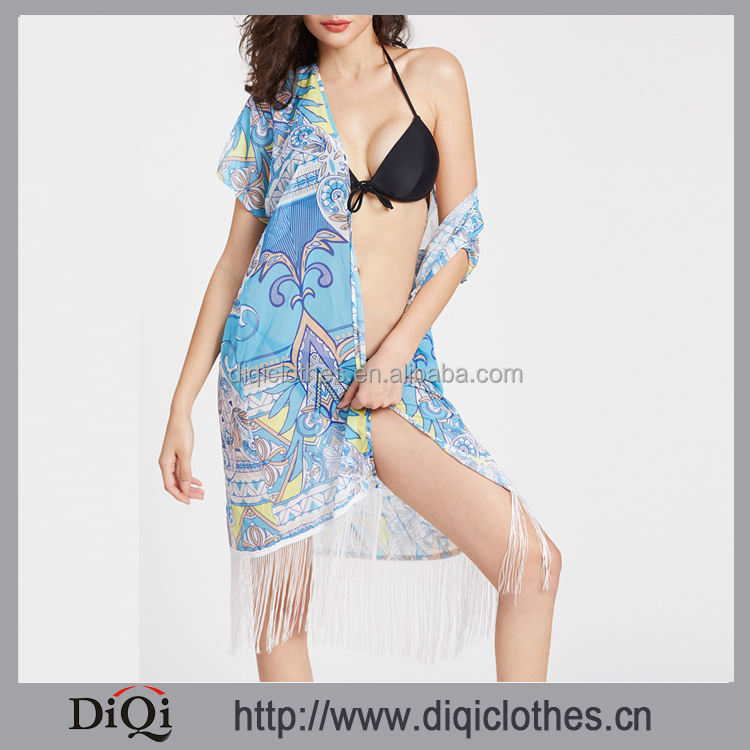 New arrivals Summer girls casual sexy blue Paisley Print Fringe Trim Kimono Cover Up Beach Dresses