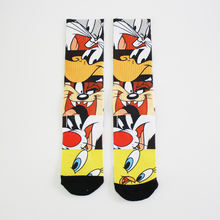 Seamless funny  custom men sublimation socks with cute cartoon  pattern