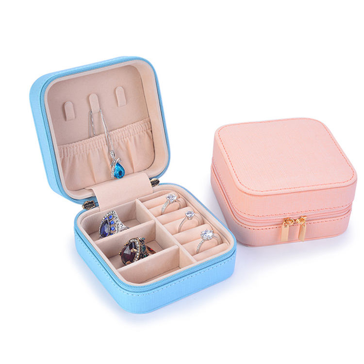 Makeup jewelry case box organizer storge case With Zipper Travel Portable Jewelry Box
