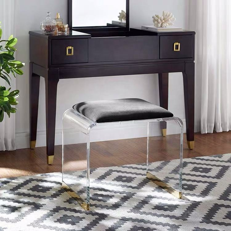 Modern simple acrylic dressing table stool bedroom model room creative web celebrity princess stool stool for changing shoes