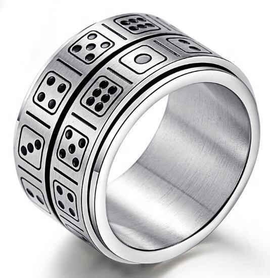 Titanium steel double circle customized personalized dice rotating finger rings