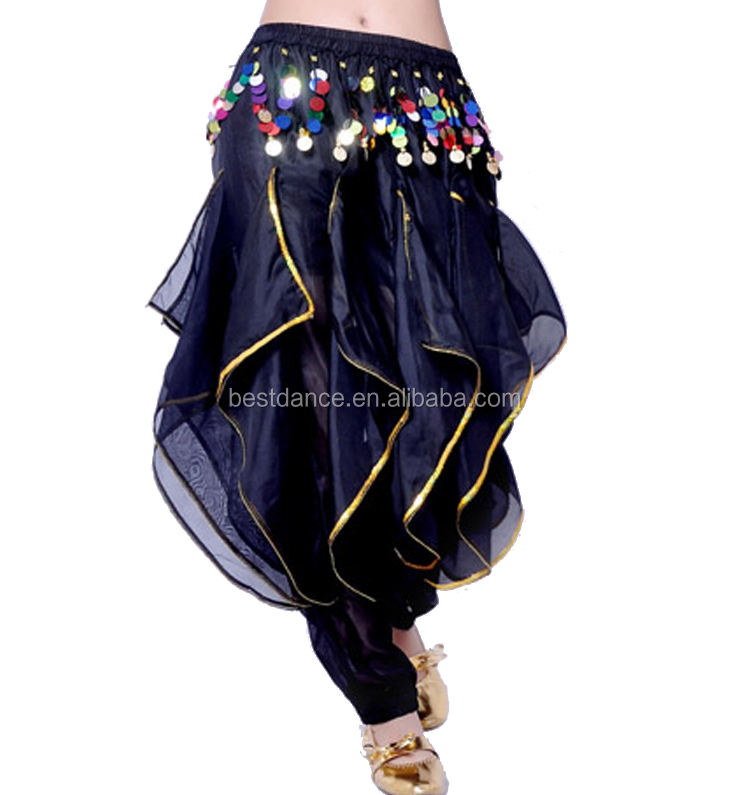 BestDance Belly Dance Costume Tribal Gold Coins Trouser Dancer Wavy Harem Pants 8 Colors