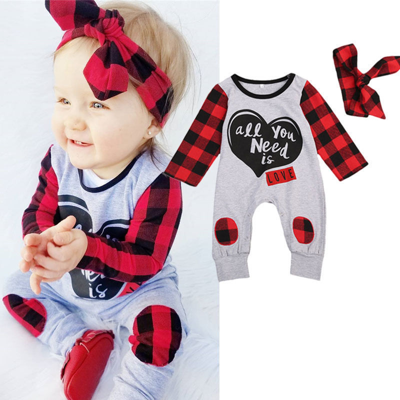 Baby Boy Girl Crew Neck Long Sleeve Pure Color Romper Fireworks and I Love You Crawling Clothes