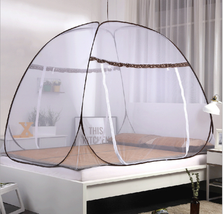 New yurt free installation mosquito net bed type home student mosquito net single double door folding