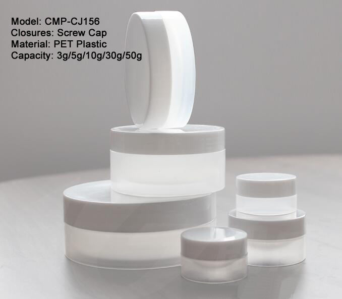 3g 5g 10g 30g 50ml 100g PP plastic white color cream jars, small empty cosmetic powder containers