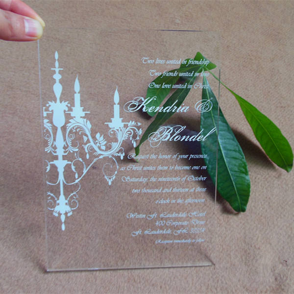 Customized laser engraved acrylic wedding invitation