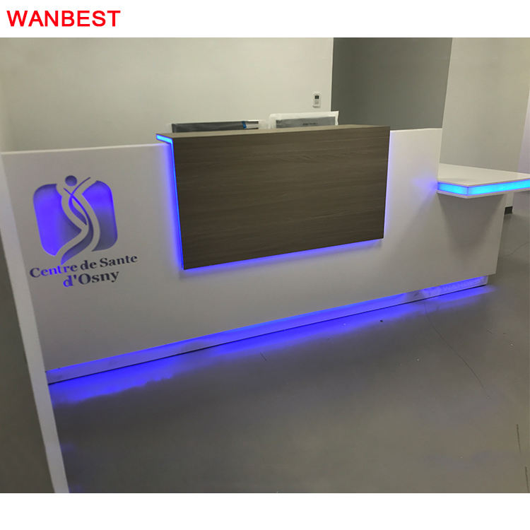 Simple Design Acrylic Led Logo Small Office Clinic Dentist Reception Area Counter Front Desk
